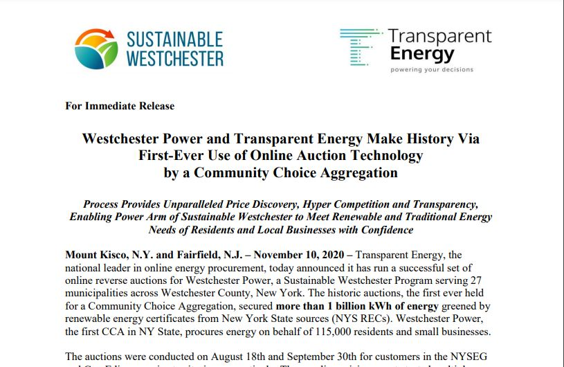 Westchester Power and Transparent Energy Make History Via First-Ever Use of Online Auction Technology by a CCA!