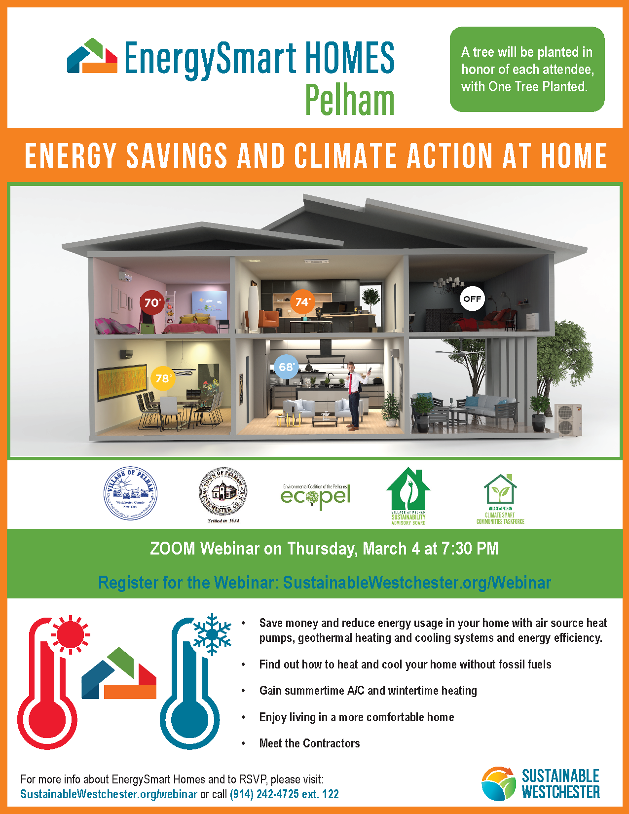 Thursday, March 4th, 7:30pm-8:30pm. Q&A 8:30pm-9:00pm Energy Savings and Climate Action at Home