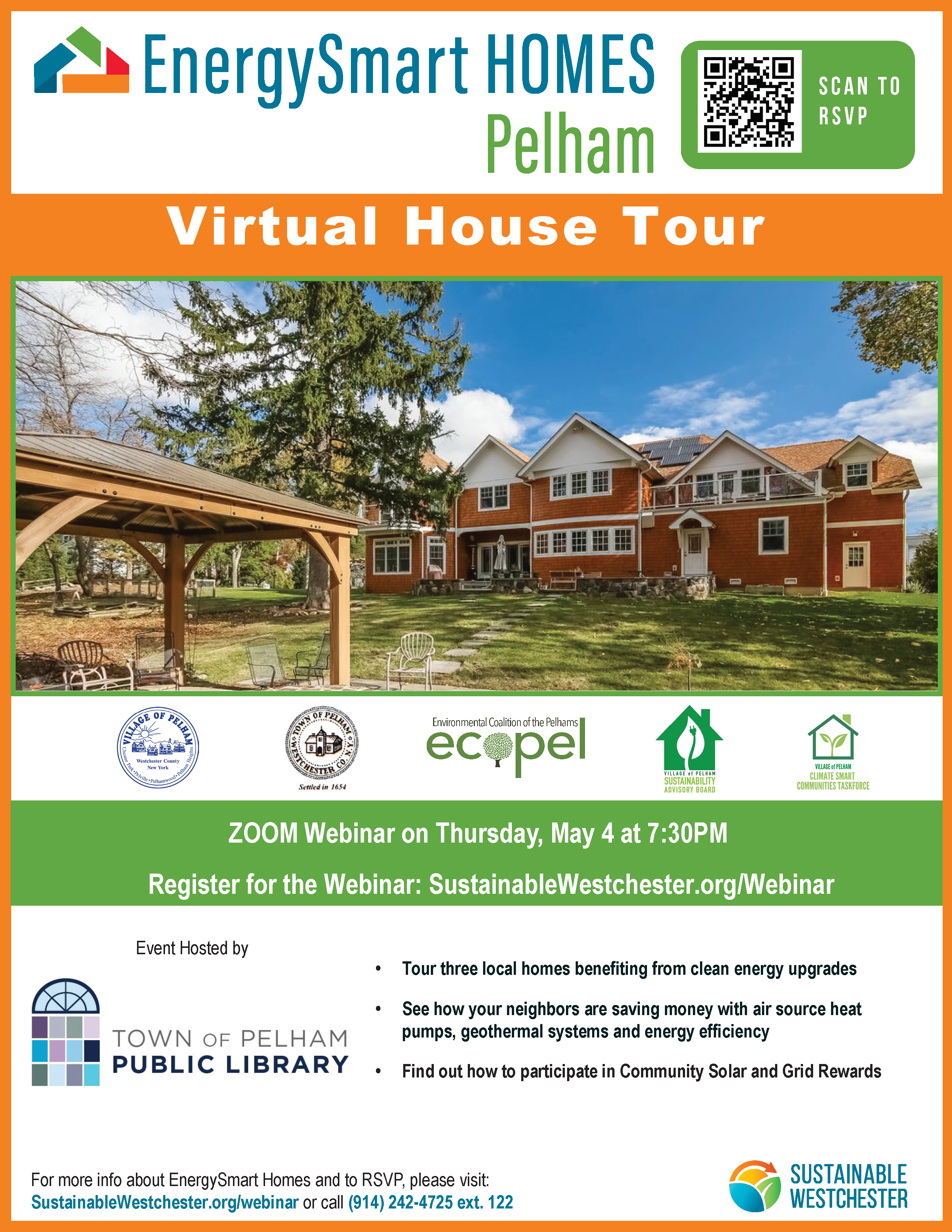 May 4th, 7:30-8:30 pm on Zoom Pelham Library Presents: EnergySmart Homes Virtual House Tour